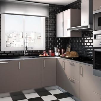 cocinas en gris y blanco free los muebles de distinto On cocina gris blanco negro