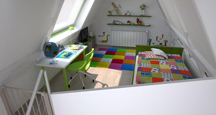 te proponemos este dormitorio de estilo infantil moderno al que se accede a travs de una escalera recta