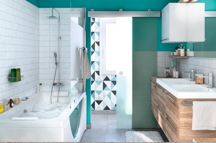 Consejos para combinar los azulejos con la pared pintada - Revestimiento de paredes leroy merlin ...