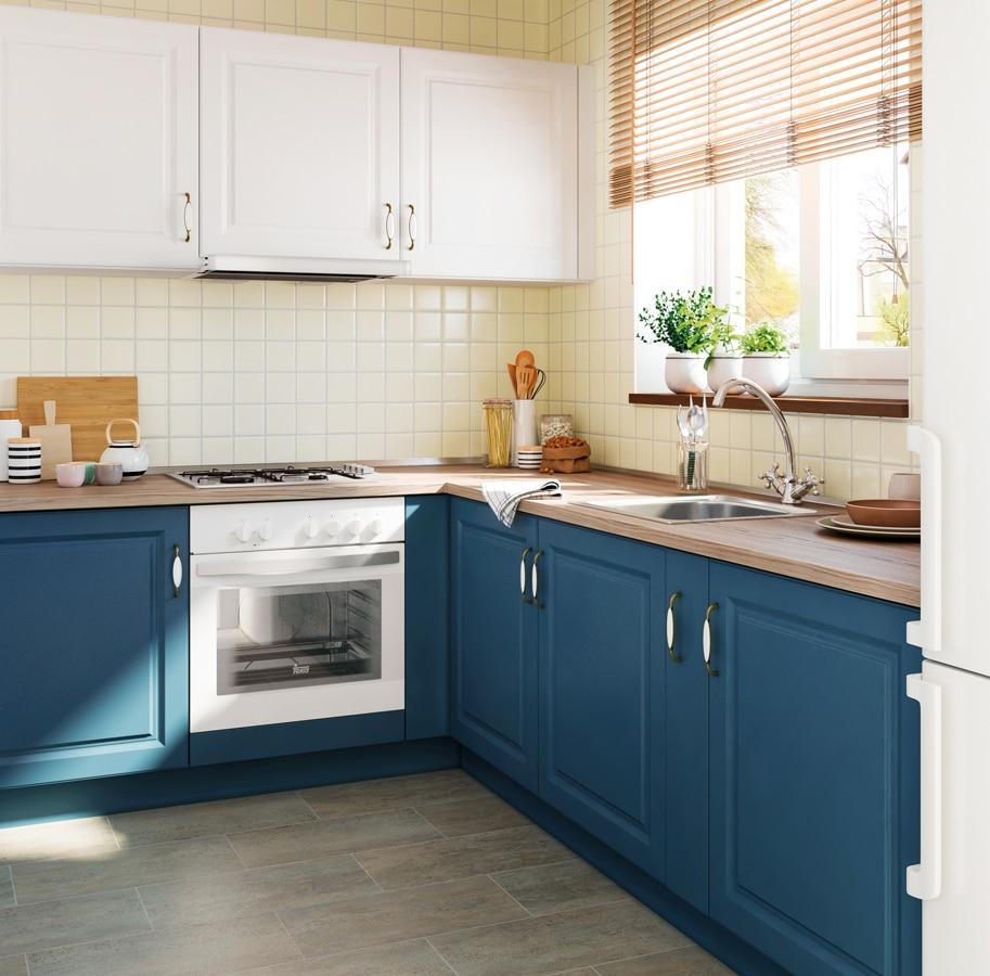 puedes pintar los muebles y los azulejos cambiar la encimera y poner un suelo de vinilo y tambin poner tiradores nuevos
