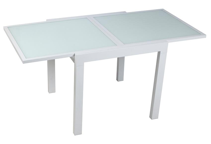 Mesa extensible de aluminio olivia blanco ref 15281406 for Mesa de jardin extensible