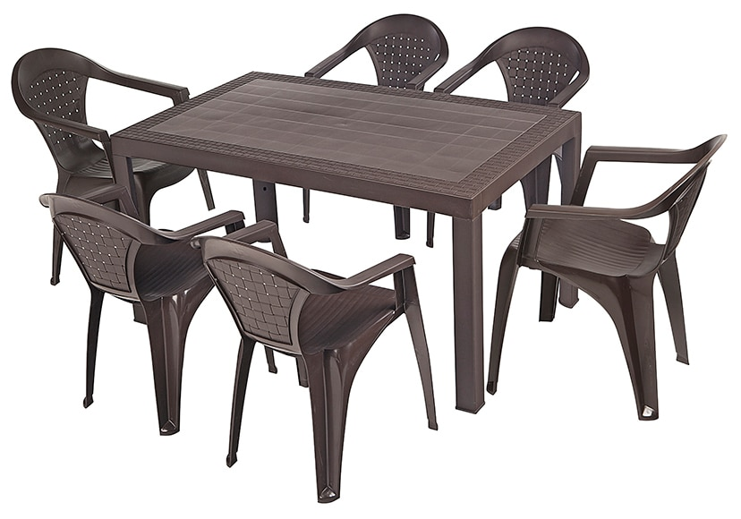 Mesa de resina dream chocolate ref 16153193 leroy merlin for Mesas y sillas jardin baratas