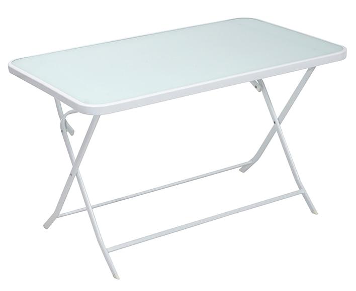 Mesa de acero y vidrio benidorm blanco ref 16569910 for Mesa plegable leroy merlin