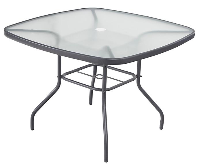Mesa de acero y vidrio veracruz ref 17199973 leroy merlin for Comedores en acero y vidrio