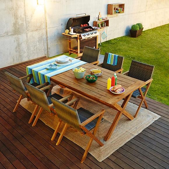 Mesa de madera de acacia congo ref 17236324 leroy merlin - Leroy merlin fundas muebles jardin le mans ...