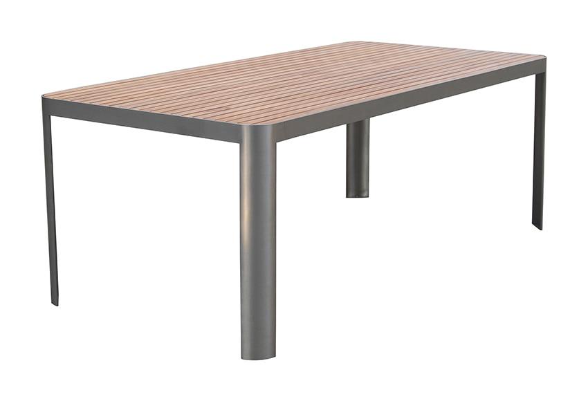 Mesa de acero inoxidable y madera de teca casablanca ref for Mesa acero inoxidable