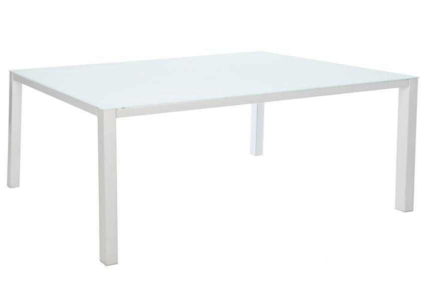 Mesa de aluminio y vidrio andalucia blanco ref 17852436 for Mesa de vidrio extensible