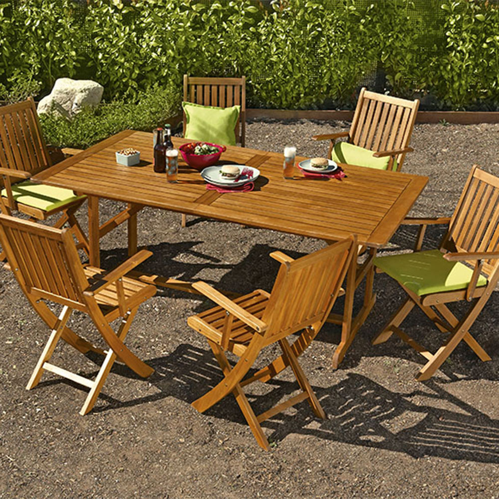 Mesa extensible de madera de acacia acacia ref 16568650 for Vallado de madera jardin leroy merlin