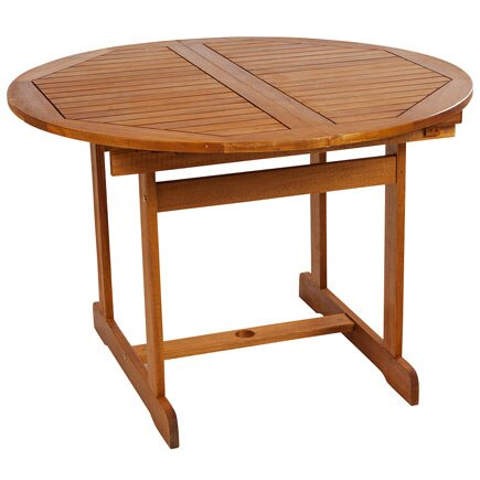 Mesa extensible de madera de acacia acacia redonda ref - Mesa camilla redonda leroy merlin ...
