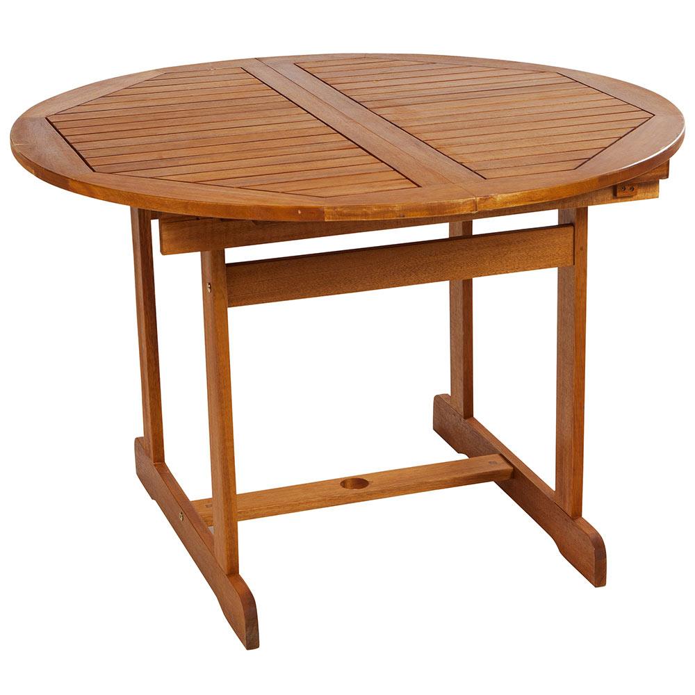 Mesa extensible de madera de acacia acacia redonda ref - Patas para mesas leroy merlin ...