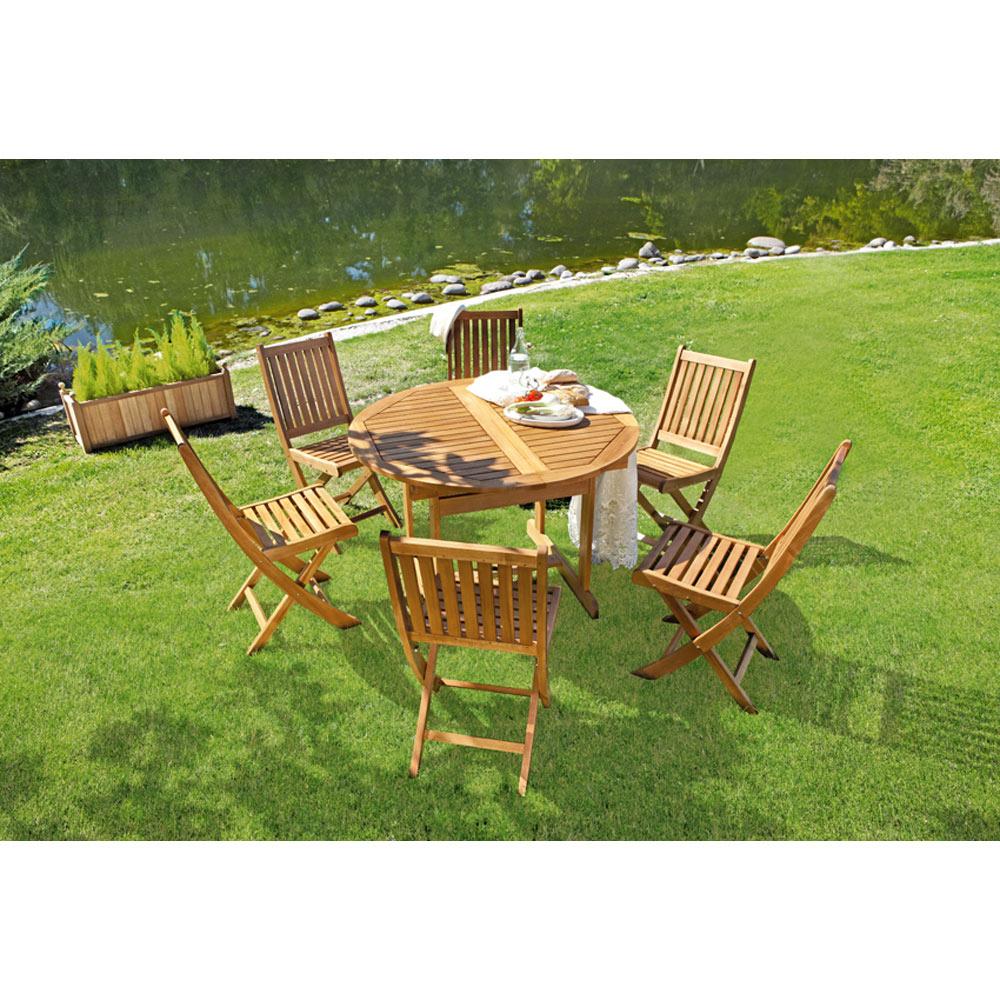 Mesa extensible de madera de acacia acacia redonda ref for Mesa de jardin extensible