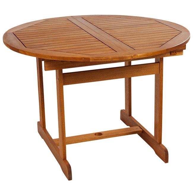 Mesa extensible de madera de acacia acacia redonda ref for Mesas redondas de madera