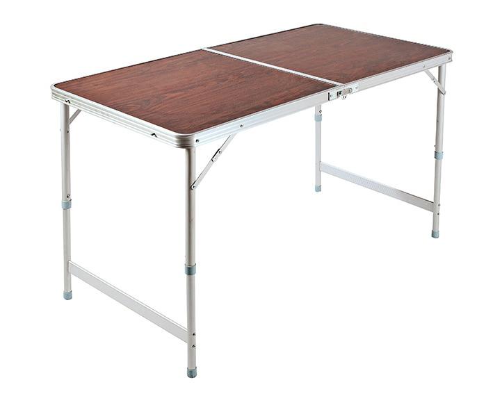 mesa de aluminio y madera camping m ref 15962233 leroy