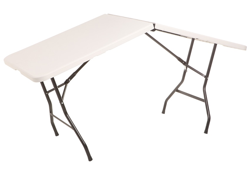 Mesa plegable de acero y resina catering easy m ref for Mesas abatibles de pared leroy merlin