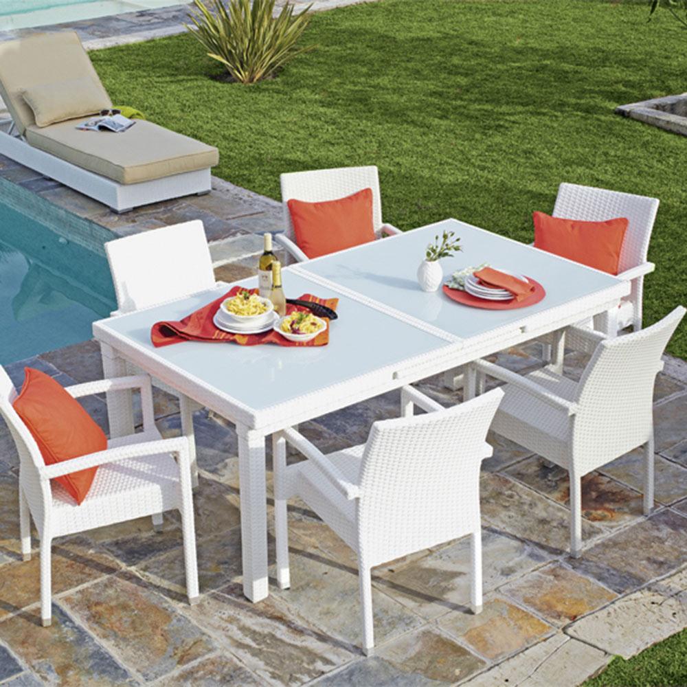 Mesa extensible de aluminio y rat n sint tico jamaica for Mesa porche