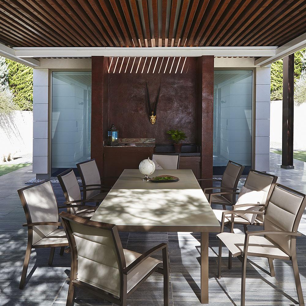 Mesa extensible de aluminio lamas extensible ref 14874846 for Sillas de terraza y jardin