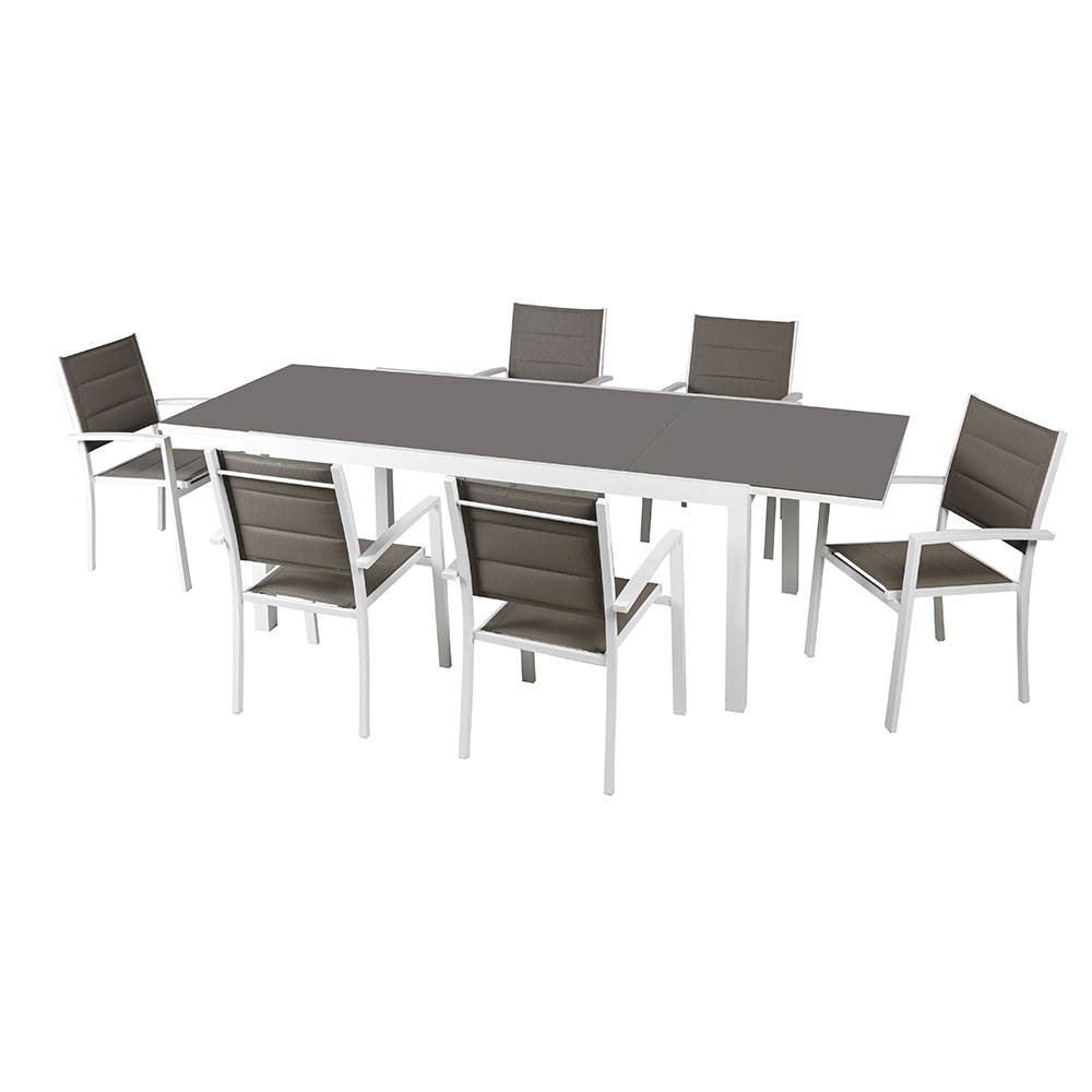 Mesa de aluminio lisboa extensible ref 17803814 leroy - Leroy merlin cristal mesa ...