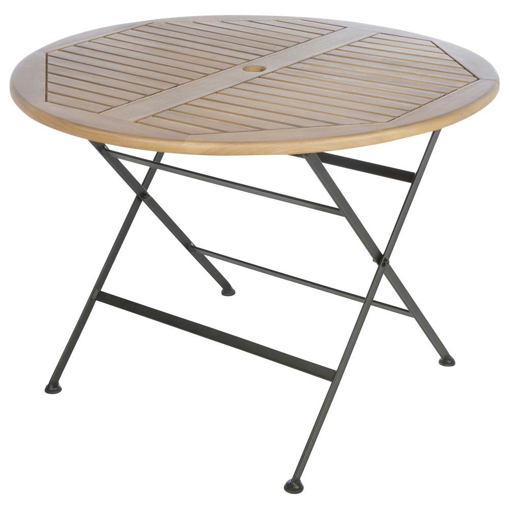 Mesa plegable hierro y madera merano ref 19198095 leroy for Mesa plegable leroy merlin