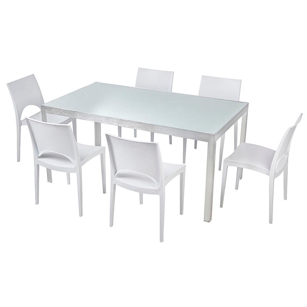 Mesa de aluminio y vidrio miami ref 15952804 leroy merlin for Vidrio interior leroy merlin