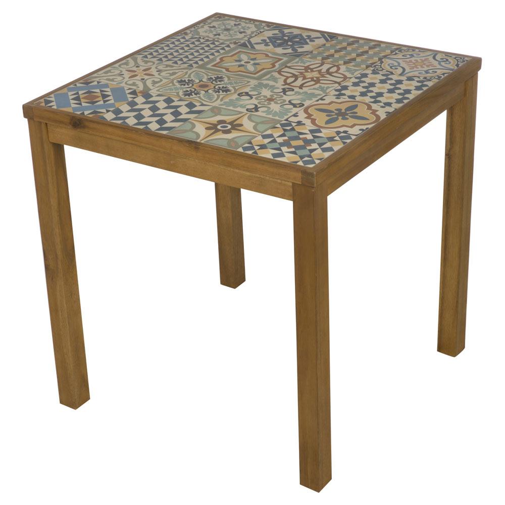 Mesa de madera de acacia soho cer mica ref 19227201 for Vallado de madera jardin leroy merlin