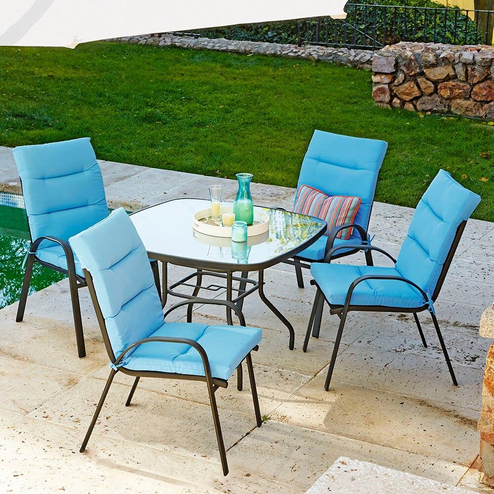 Mesa de acero y vidrio veracruz rectangular ref 17199973 for Vidrio interior leroy merlin