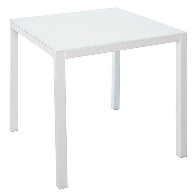 Mesa de acero textileno y vidrio zahara cuadrada ref for Patas mesa leroy merlin