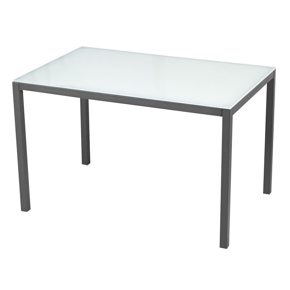 Mesa de acero y vidrio zahara rectangular ref 17803982 for Mesas de salon blancas