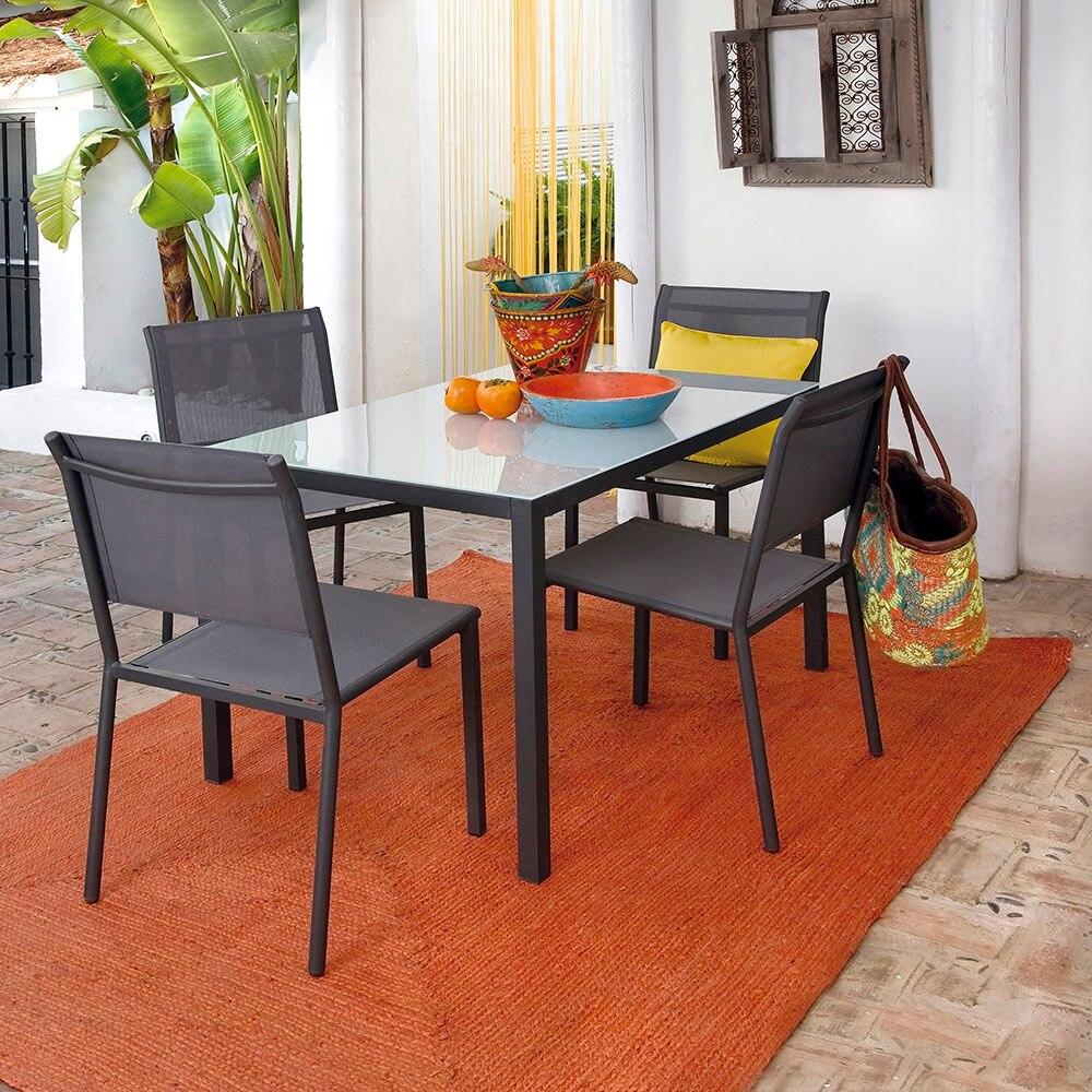 Mesa de acero y vidrio zahara rectangular ref 17803982 for Vidrio interior leroy merlin