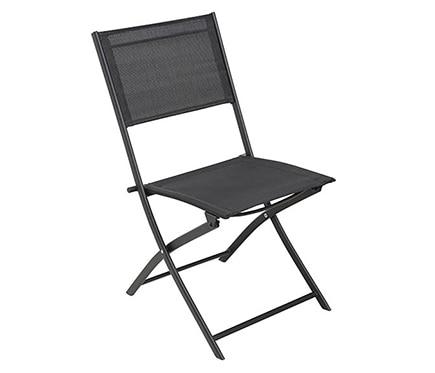 Dos sillas de acero benidorm negro ref 15960672 leroy - Sillas plegables leroy merlin ...