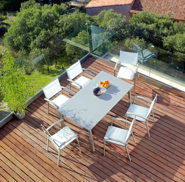 Silla de aluminio y textileno finisterre ref 16564044 for Conjunto jardin leroy merlin