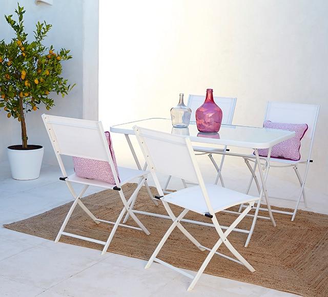 Dos sillas de acero benidorm blanco ref 16569070 leroy - Sillas exterior leroy merlin ...