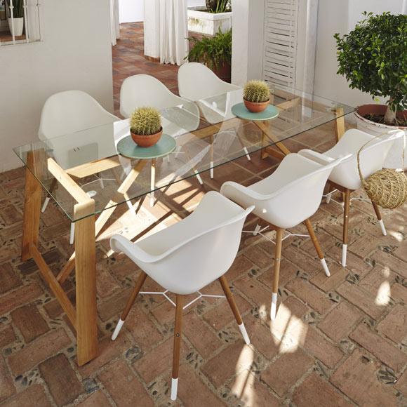Silla de madera y acero chamonix blanco ref 17806061 for Silla giratoria leroy merlin