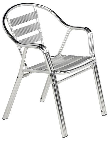 Silla de aluminio anodizado y acero inoxidable sol ref for Sillas de aluminio