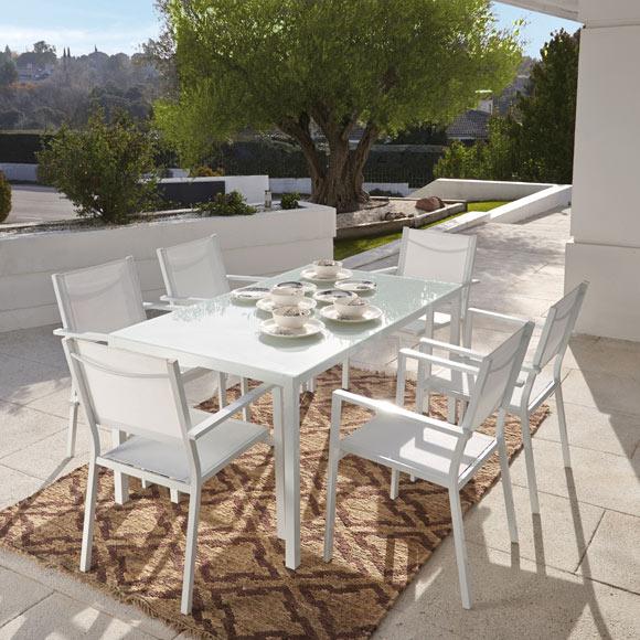 Silla de aluminio y textileno andalucia blanco ref - Leroy merlin fundas muebles jardin le mans ...