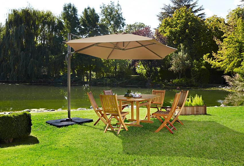 Parasol exc ntrico de aluminio con toldo de 300 cm for Balancines para jardin leroy merlin