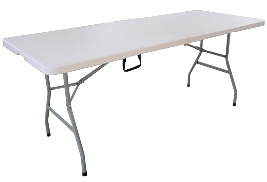 Mesa plegable de acero catering ref 16671382 leroy merlin for Mesa de playa plegable