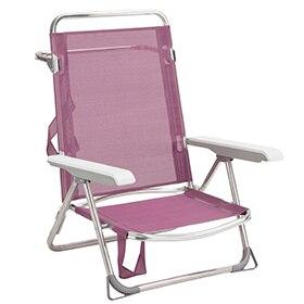 silla de aluminio y textileno morado