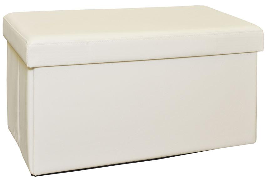 Puff de polipiel rectangular 76x38 blanco ref 15645966 - Leroy merlin puff ...