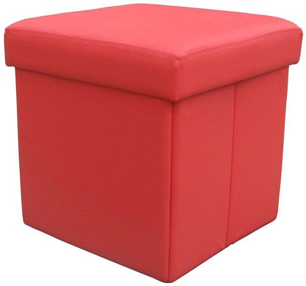 Puff de polipiel cuadrado 38x38 rojo ref 15936991 leroy - Leroy merlin puff ...