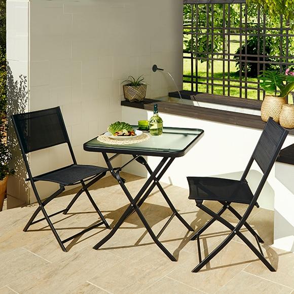 Set de acero y textileno benidorm negro ref 14561680 for Leroy merlin sillas jardin