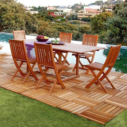 Conjuntos de muebles para comer leroy merlin for Muebles terraza madera