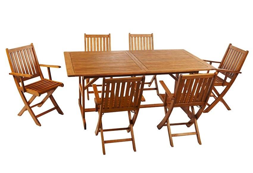 Conjunto de madera de acacia acacia extensible 180 240 ref 010114 16627702 leroy merlin - Mesa acacia extensible ...