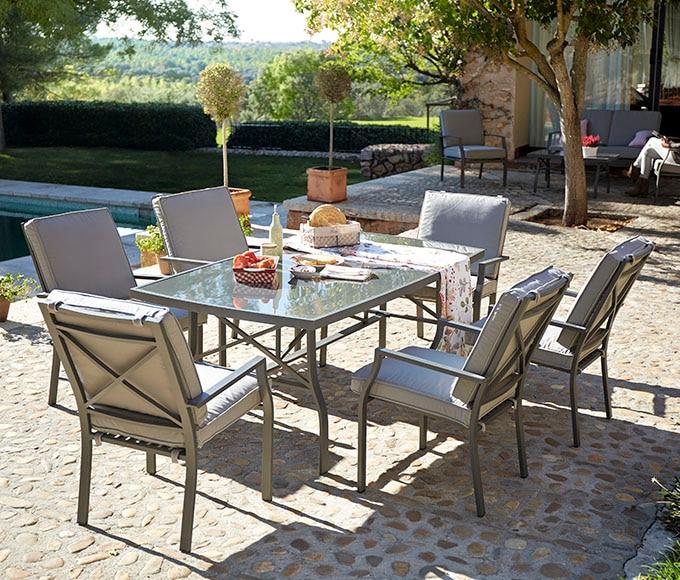 Conjunto de aluminio y textileno roma antracita ref - Mesas terraza leroy merlin ...