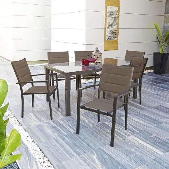 Conjunto de aluminio y textileno lisboa choco ref 010114 for Conjunto jardin leroy merlin