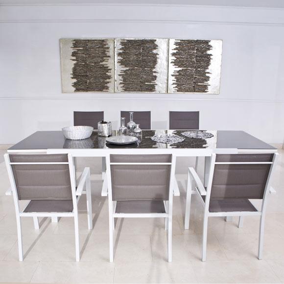 Conjunto de aluminio extensible lisboa 180 260 blanco ref for Conjunto jardin leroy merlin