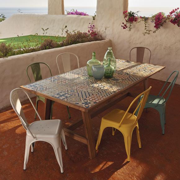 Conjunto madera y metal soho cer mica ref 010114 19188141 for Sillas de patio baratas