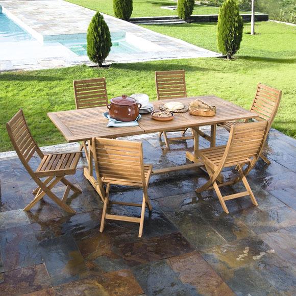 Conjunto madera de acacia porto 150 210 ref 010114 for Conjunto jardin madera