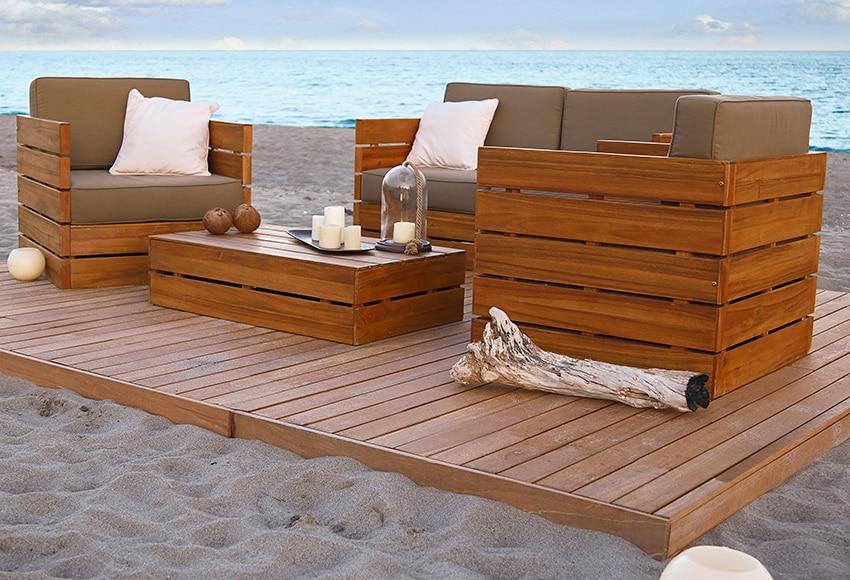 Conjunto de madera de acacia montevideo ref 010115 - Cerramientos de terrazas leroy merlin ...