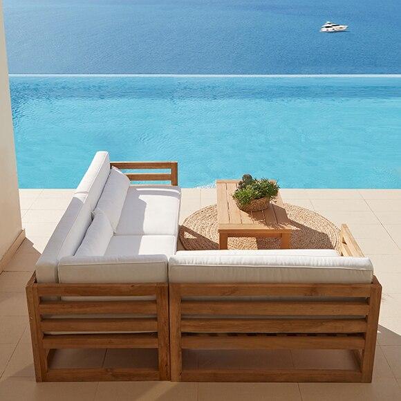 Conjunto de madera de teca y poli ster girona ref 010115 for Muebles de teka para jardin