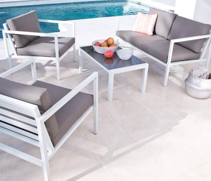 Set de aluminio lisboa blanco marr n ref 17783556 leroy for Sofa exterior aluminio blanco